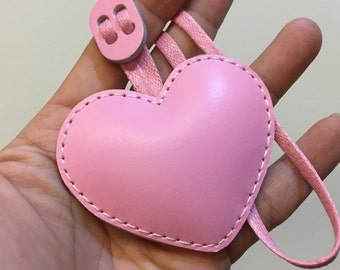 Small size - Love Heart cowhide leather charm ( Baby pink )