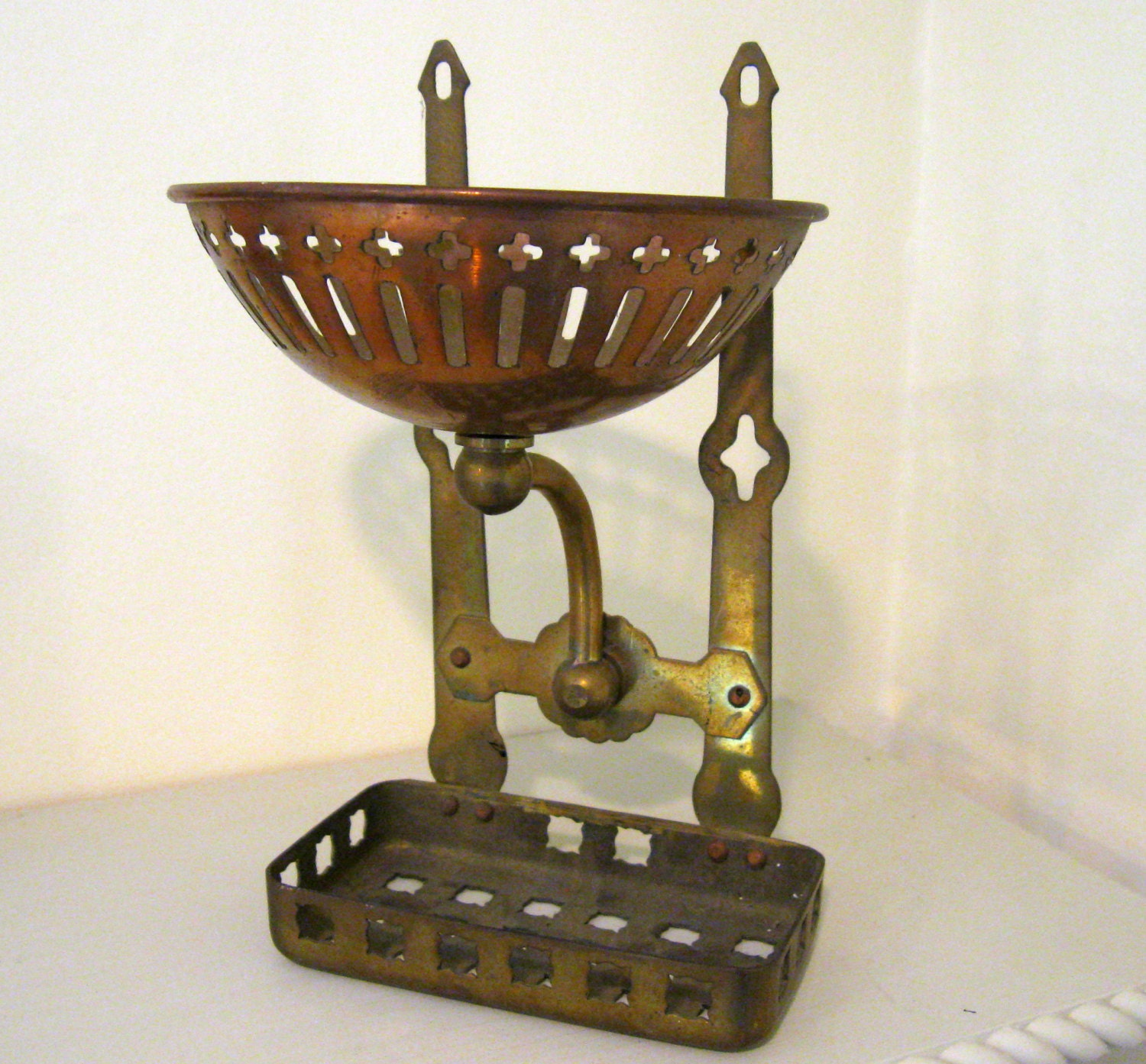Antique Brass Soap And Sponge Dish Holder