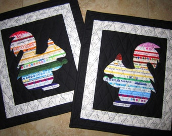 EQUALITY Mini Selvage Quilt Collection Set of 2 Rainbow Squirrels from Quilts by Elena Wall Hanging Table Topper Selvages