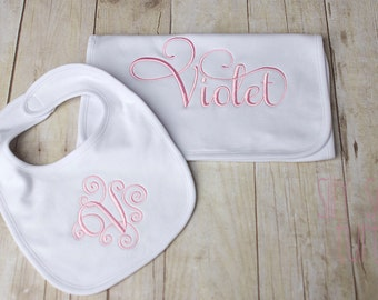 Monogrammed Bib and burp cloth set, Embroidered initial baby shower gift set
