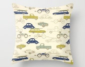 Car Pillow cover Kids Pillow Decorative Pillow Navy Pillow Nursery Pillow Size Choice