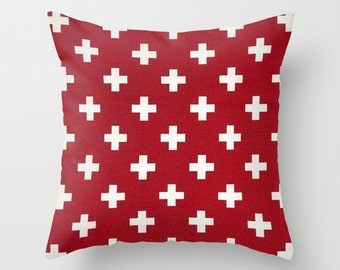 Swiss Cross Pillow Cover Red Pillow Nautical Pillow Throw Pillow Accent Pillow Size Choice