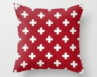 Swiss Cross Pillow Cover Red Pillow Nautical Pillow Throw Pillow Accent Pillow Size Choice