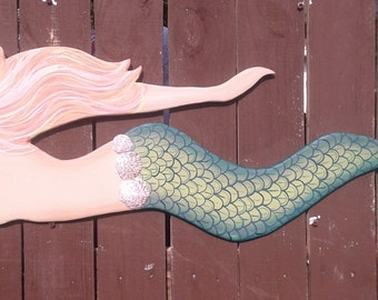 Wooden Mermaid Wall Hanging mermaid wood cut-out 39 inches long ready to paint mosaic or