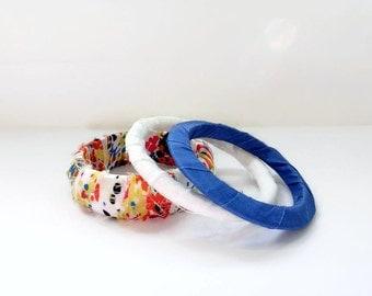 Fabric Wrap Bracelet, Fabric wrap bangle, Upcycled Fabric Bangles Set of 3 , White Blue Red Orange Bracelet Jewelry