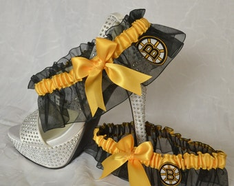 Wedding Garter Set Black Handmade with Boston Bruins fabric