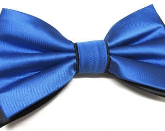 Mens Bow Ties. Royal Blue Black Bow Tie. Wedding Bow Ties Royal Blue and Black Bowtie With Matching Pocket Square Option