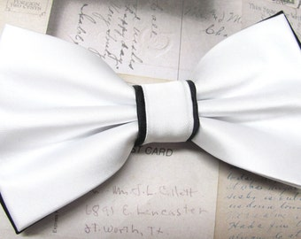 Mens Bow Ties. White Black Bow Tie. Wedding Bow Ties White and Black Bowtie With Matching Pocket Square Option