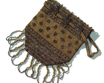 Vintage Flapper Reticule French Steel Cut Bag Micro Beaded Doll Purse PARIS
