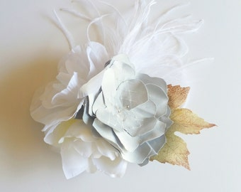 Lolita Slate Gray & White Hair Flower Fascinator, Ostrich Feathers, Romantic, Glass Bead, Wedding, Bridesmaid, Leaf, French Tulle,  Netting,