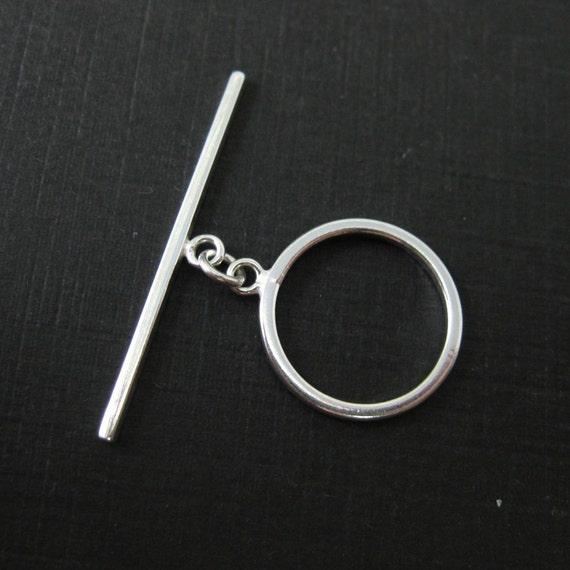 Sterling Silver Toggle - Round Shape (14mm - 1 set)- SKU: 202114