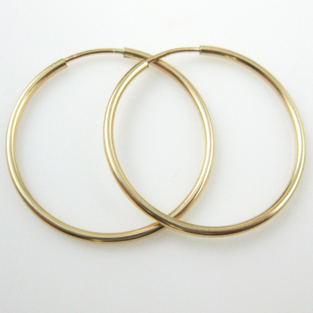 Gold Hoop Earrings Round Endless Hoop Earrings  14k Gold Filled Simple  Round Hoops  21mm ( 2 Pieces, 1 Pair )  Sku: 20300121gf