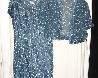 Vintage 50s Blue Dot 2 pc Fitted Dress Matching Gauze Jacket L bch