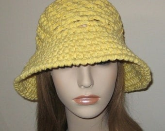 Yellow Cotton Cloche Hat