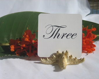 Beach Wedding + Table Number Holders + Gold Starfish Wedding Table Card Holders w/FREE SHIPPING