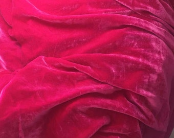 HOT Fuchsia PINK Silk Velvet Fabric - 1 Yard