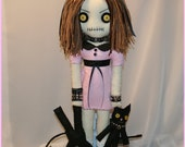 OOAK Hand Stitched Rag Doll With Black Kitty Cats Creepy Gothic Folk Art by Jodi Cain Tattered Rags