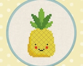 Pineapple. Happy Fruit PDF Cross Stitch Pattern Instant Download