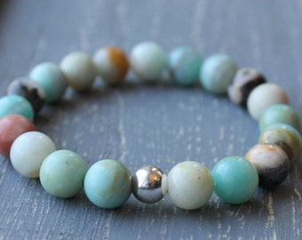Black Gold Amazonite Stone Bracelet / Minty Turquoise Sterling Silver Stretch Bracelet for the Natural Modern Woman / Earthy Summer Bracelet
