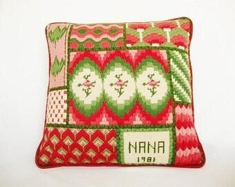 vintage needlepoint pillow crewel bargello embroidery for nana