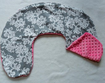 Gray and White Damask and Hot Pink Minky Dot Nursing Pillow Cover Fits Boppy CHOICE OF MINKY