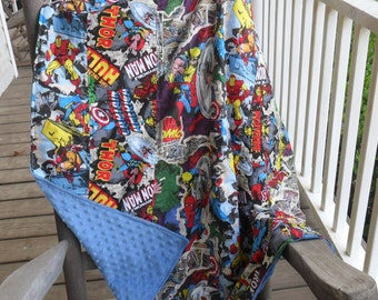 Marvel Retro Comics  and  Minky Dot Blanket