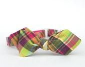 lime & magenta madras freestyle bow tie