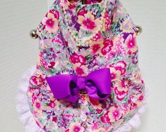 XS Floral Dog Harness Dress Purple Bow Chihuahua Yorkie Small Dog