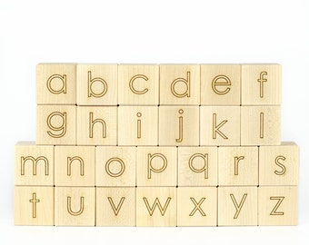 Maple Alphabet Blocks Wood Toy - Wooden Blocks - Baby Blocks - Learning Wood Toy - Toddler Gift - Shower Gift - Maple Blocks - ABC Toy -BL16