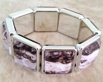 Woodgrain Glass Tile Bracelet