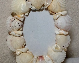 Sea Shell Art Picture Frame for 5 by 7 photos - Handmade, Home and Living,  Ready to Ship