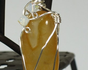 Oregon Beach Agate Pendant With Swarovski Crystals and Silver Chain #103