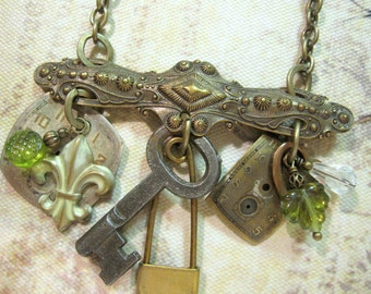 Steampunk Jewelry, Fleur de Lis Necklace, Skeleton Key Necklace, Key, Laundry Pin, Charm Necklace, Neo-Victorian, Upcycled, Green Leaves