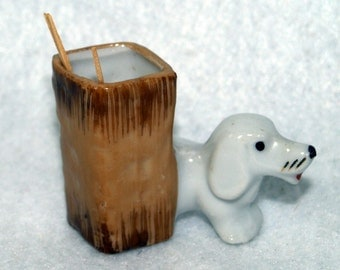 Occupied Japan Toothpick Holder With Dog Toothpicker
