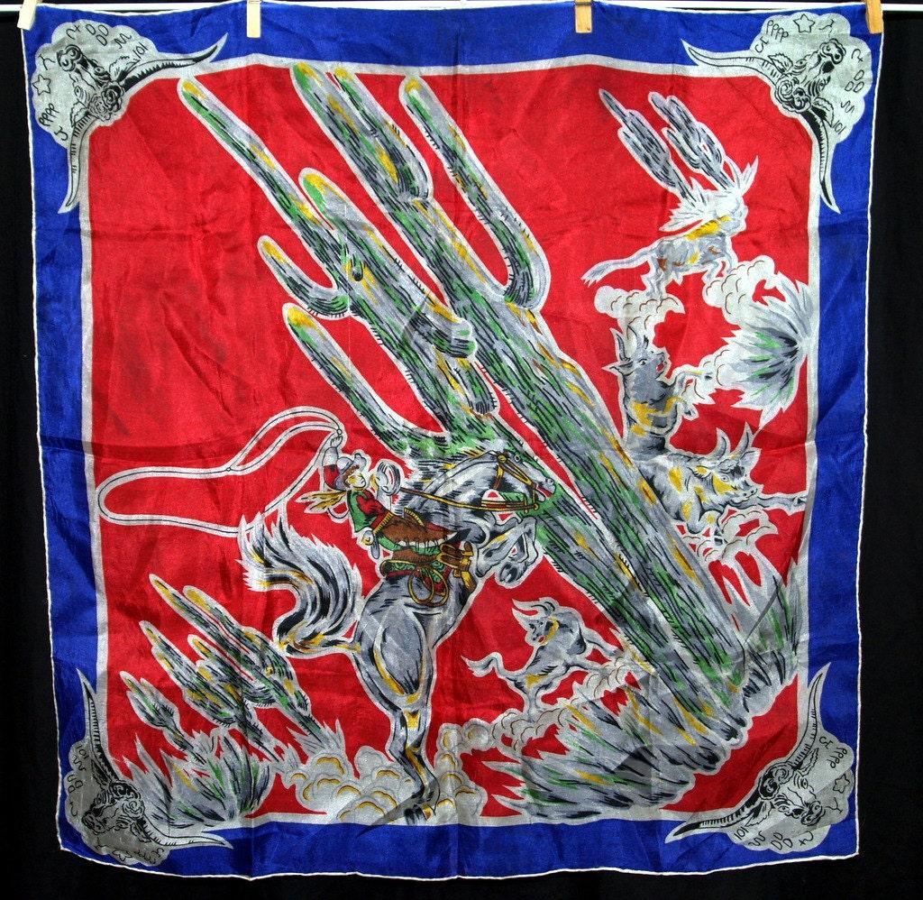 vintage silk cowboy scarf