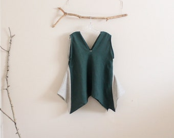 emerald pebble linen origami seam flare top size M ready to wear