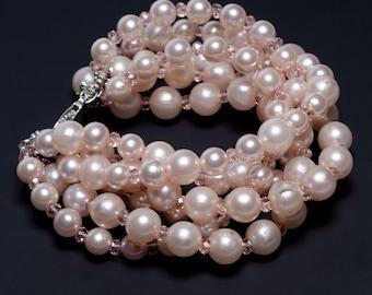 Brides wedding light pink pearl bracelet, bridesmaids gift crystal and pearl pink blush bracelet