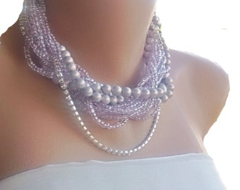 Chunky Layered Lavender Bridal Italian Pearl Necklace with rhinestone trim