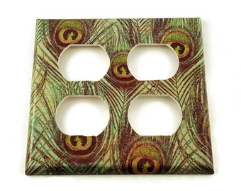 Double Outlet Light Switch Plate Wall Decor  Double Switch Plate  Switchplate in  Peacock (222DO)
