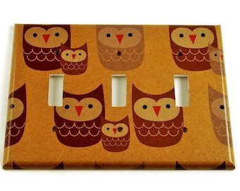 Triple Switch Plate Cover Switchplate Nursery Decor  in Sweet Owls (125T)
