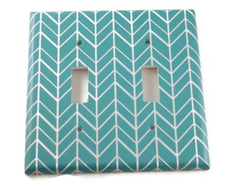 Double Switchplate Light Switch Cover Wall Decor Light Switchplates in  Turquoise Feather (258D)