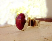 Ruby ring, July birthstone ring, Ruby gemstone ring,  silver and gold ring, Ruby statement ring, pink ruby Cabochon ring, mixed metal ring