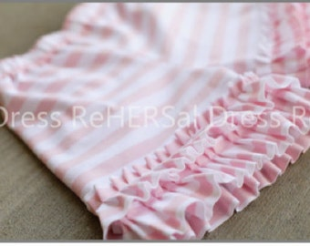Pink and white stripe knit double ruffle shorties