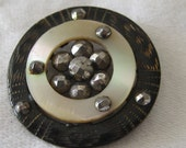 ANTIQUE Pierced Iridescent Shell with Riveted Cut Steel Pin Shank in Metal BUTTON