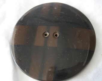 Very Large VINTAGE Dark Brown Plaid Tight Top Celluloid Coat BUTTON
