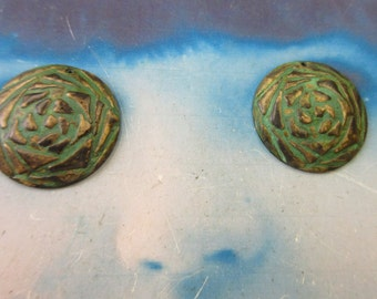 Verdigris Patina Brass Cabbage Rose Floral 22mm Charms 912VER x2