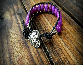 Fluttering Heart, Western Cowgirl Southwestern Boho Purple Jade Leather Wrap Heart Button Bracelet