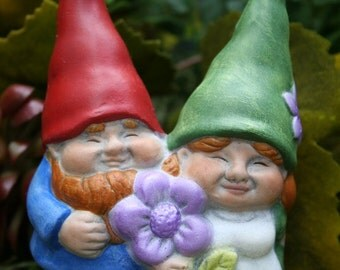 Garden Gnome Couple - Young Mr & Mrs Gnome Statue - Wedding or Shower Cake Topper