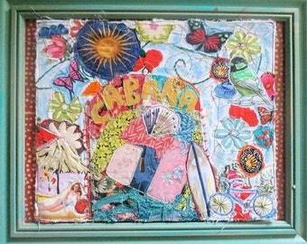 BEACH COTTAGE CABANA - Original Fabric Scraps Collage - Ocean Coastal Living  - Retro Bikini Swimsuit Bathing Suit / my bonny folk artist