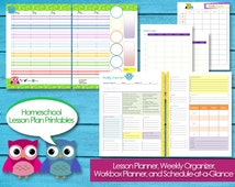 Homeschool Lesson Planner Printable PDF Editable Classroom Planning Instant Download Unit Studies Bible Reading Plans